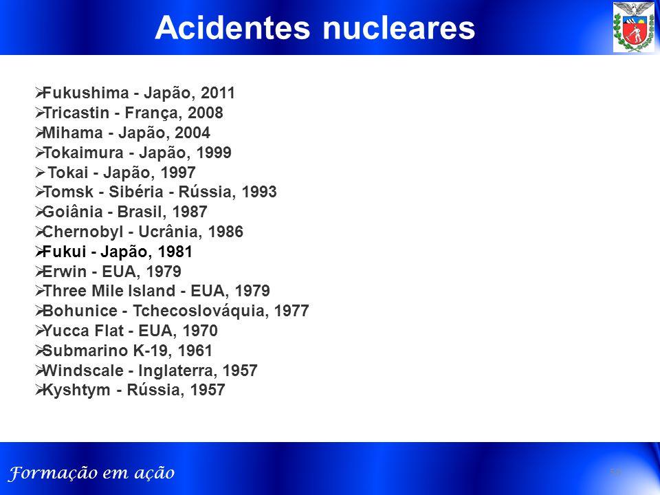 Formação em ação  Fukushima - Japão, 2011  Tricastin - França, 2008  Mihama - Japão, 2004  Tokaimura - Japão, 1999  Tokai - Japão, 1997  Tomsk -