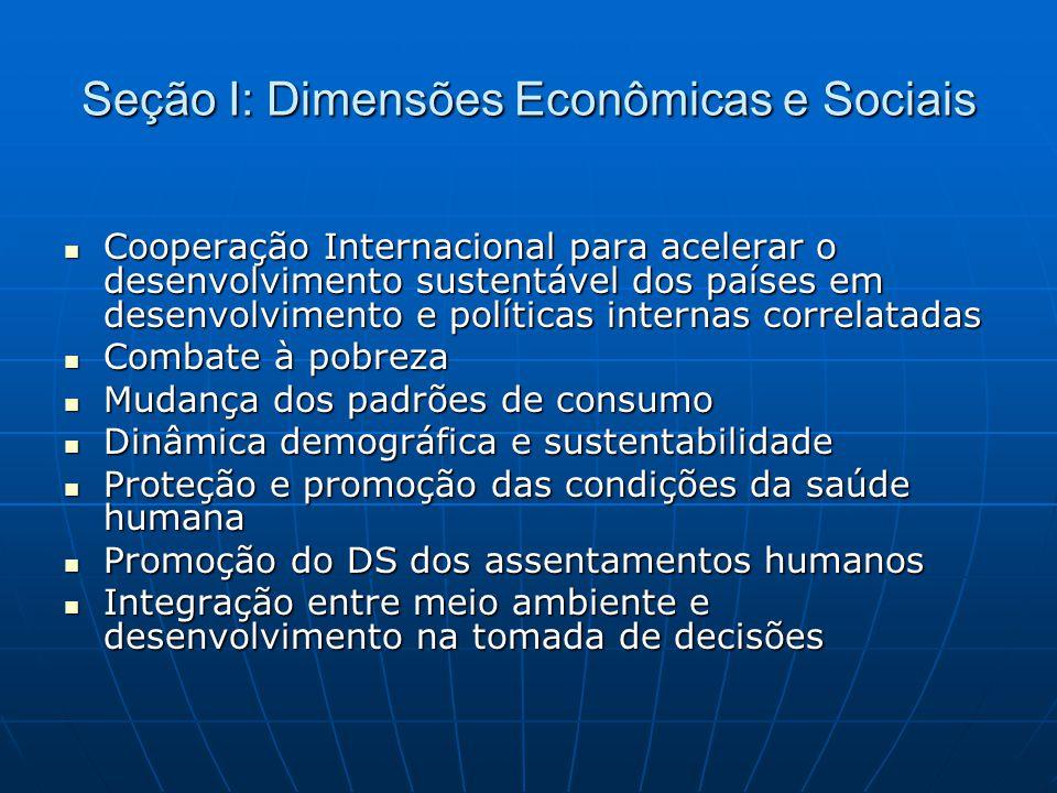 Seção I: Dimensões Econômicas e Sociais  Cooperação Internacional para acelerar o desenvolvimento sustentável dos países em desenvolvimento e polític