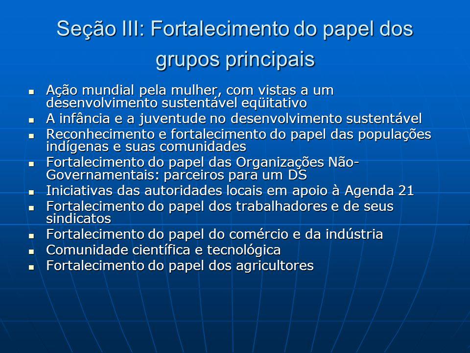 Seção III: Fortalecimento do papel dos grupos principais  Ação mundial pela mulher, com vistas a um desenvolvimento sustentável eqüitativo  A infânc