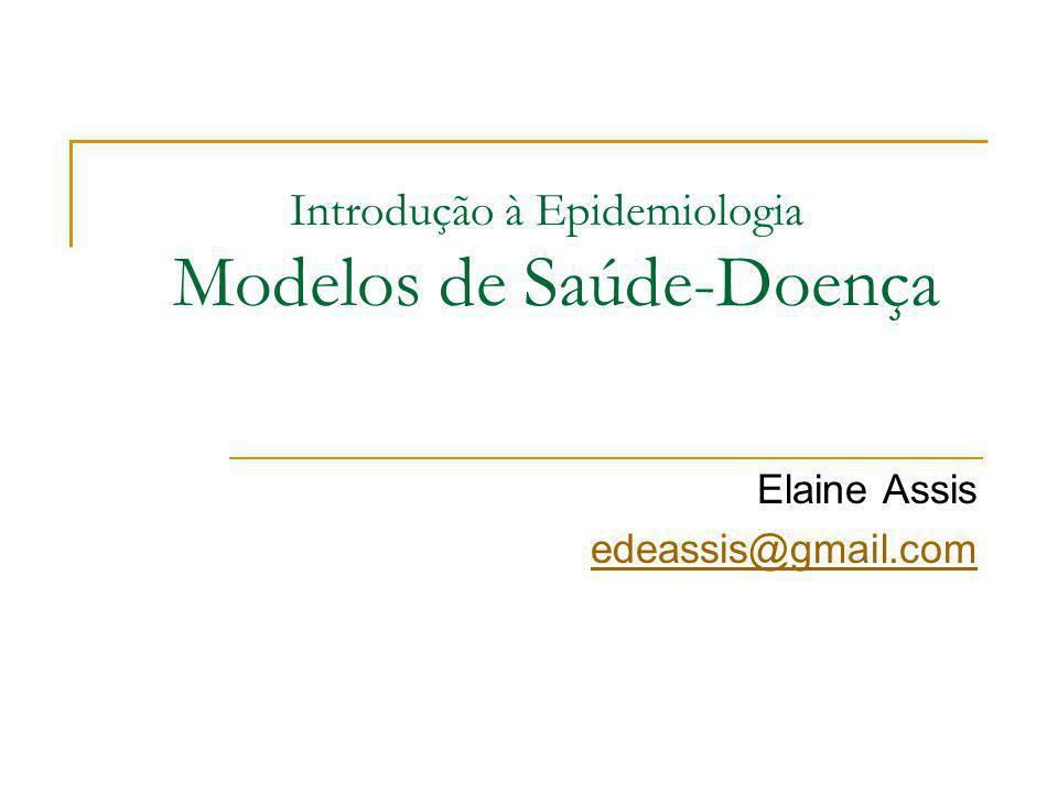 Introdução à Epidemiologia Modelos de Saúde-Doença Elaine Assis edeassis@gmail.com