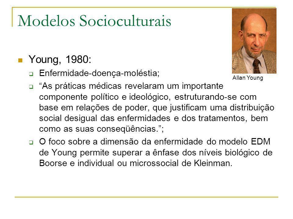 """Modelos Socioculturais  Young, 1980:  Enfermidade-doença-moléstia;  """"As práticas médicas revelaram um importante componente político e ideológico,"""