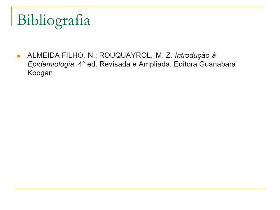Bibliografia  ALMEIDA FILHO, N.; ROUQUAYROL, M. Z. Introdução à Epidemiologia. 4° ed. Revisada e Ampliada. Editora Guanabara Koogan.