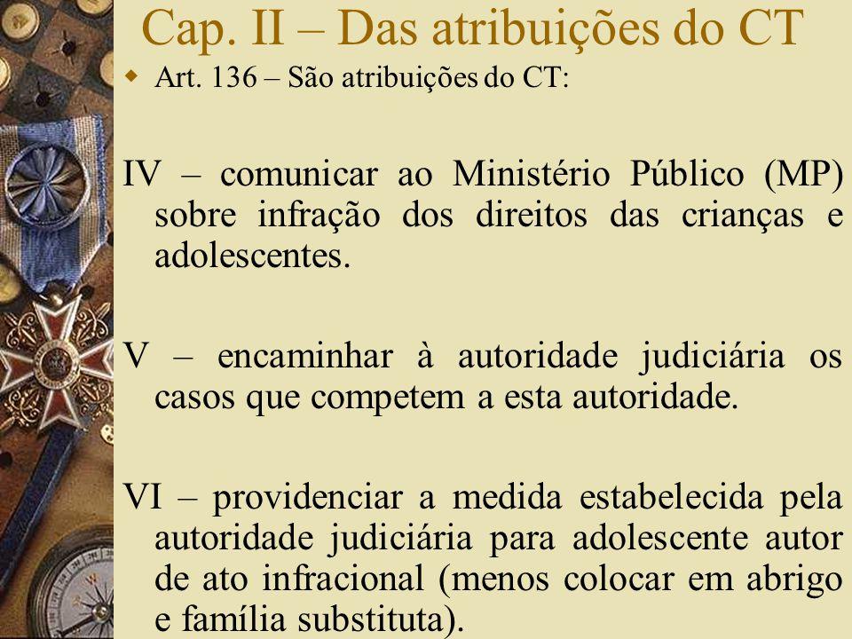 Cap. II – Das atribuições do CT  Art. 136 – São atribuições do CT: IV – comunicar ao Ministério Público (MP) sobre infração dos direitos das crianças