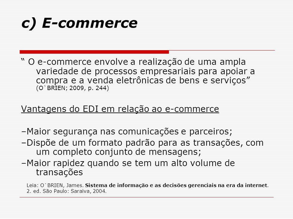 """c) E-commerce """" O e-commerce envolve a realização de uma ampla variedade de processos empresariais para apoiar a compra e a venda eletrônicas de bens"""