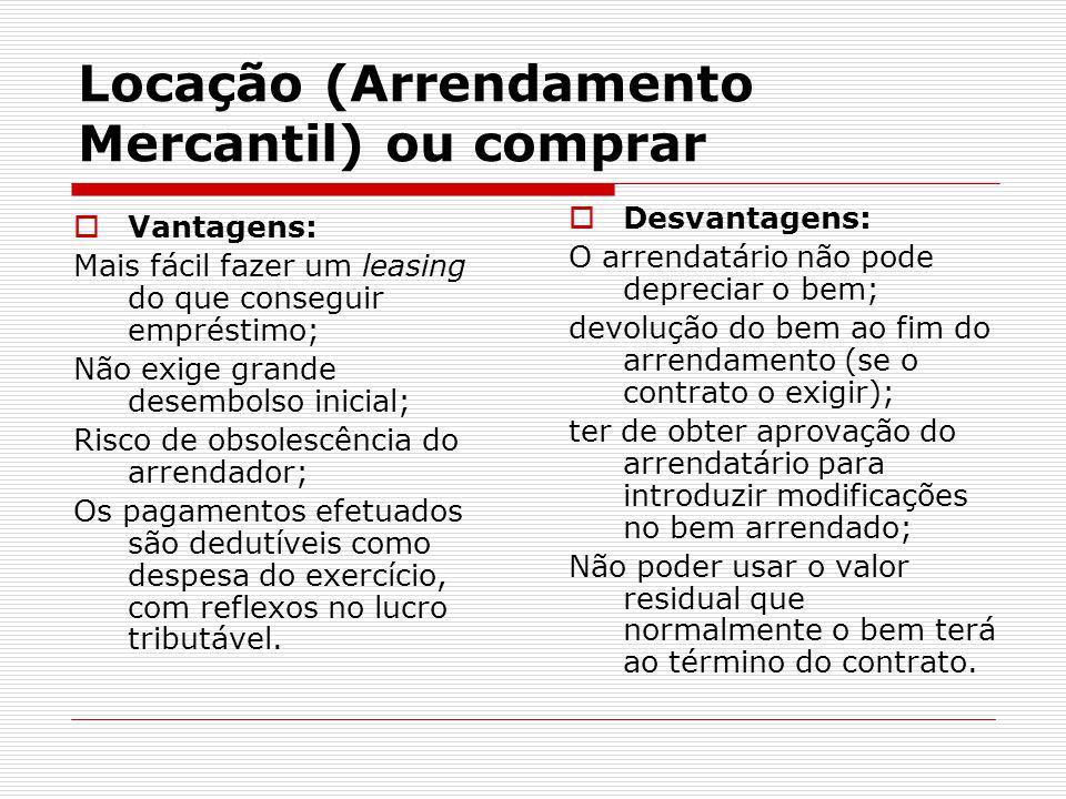 Locação (Arrendamento Mercantil) ou comprar  Desvantagens: O arrendatário não pode depreciar o bem; devolução do bem ao fim do arrendamento (se o con