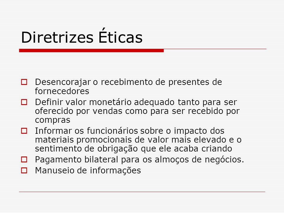 Diretrizes Éticas  Desencorajar o recebimento de presentes de fornecedores  Definir valor monetário adequado tanto para ser oferecido por vendas com