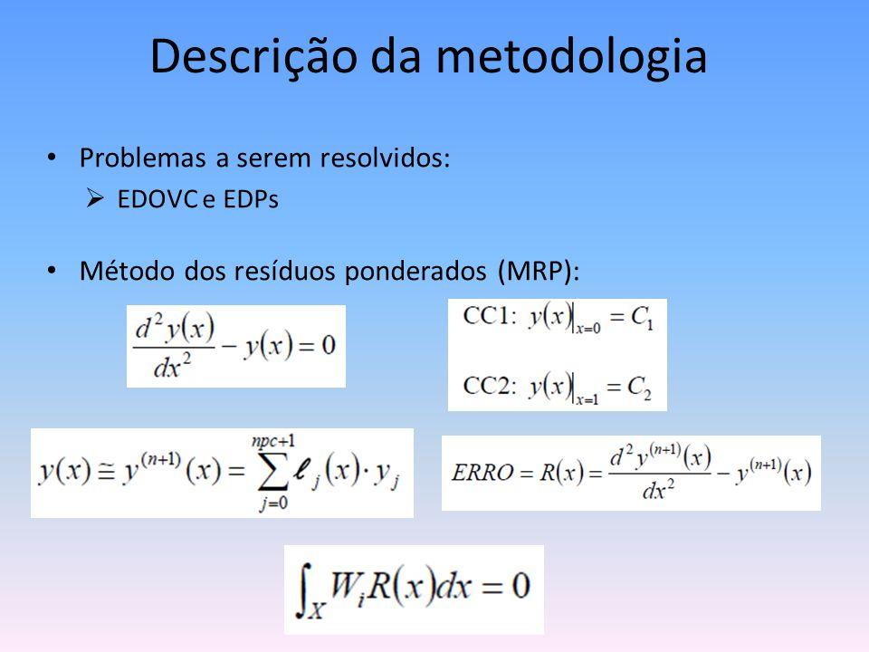 Descrição da metodologia • Problemas a serem resolvidos:  EDOVC e EDPs • Método dos resíduos ponderados (MRP):