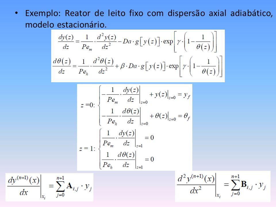 • Exemplo: Reator de leito fixo com dispersão axial adiabático, modelo estacionário.
