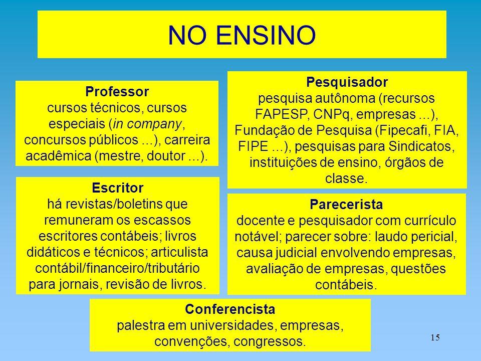 15 NO ENSINO Professor cursos técnicos, cursos especiais (in company, concursos públicos...), carreira acadêmica (mestre, doutor...). Pesquisador pesq