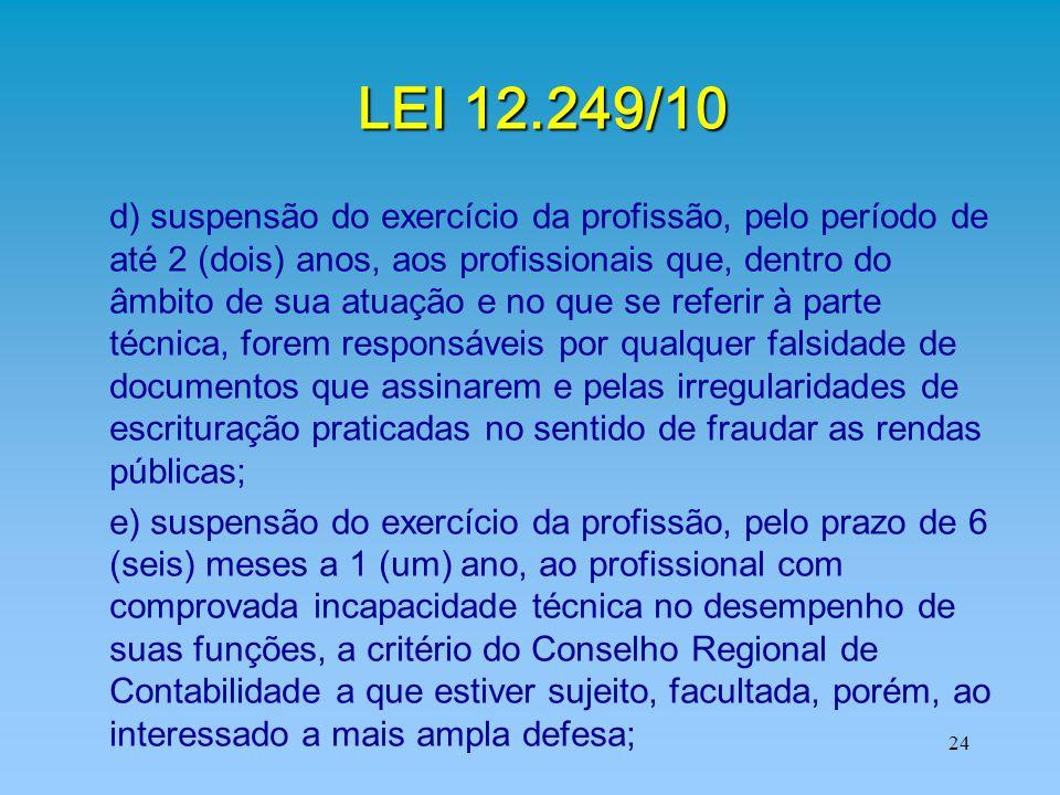 24 LEI 12.249/10 d) suspensão do exercício da profissão, pelo período de até 2 (dois) anos, aos profissionais que, dentro do âmbito de sua atuação e n