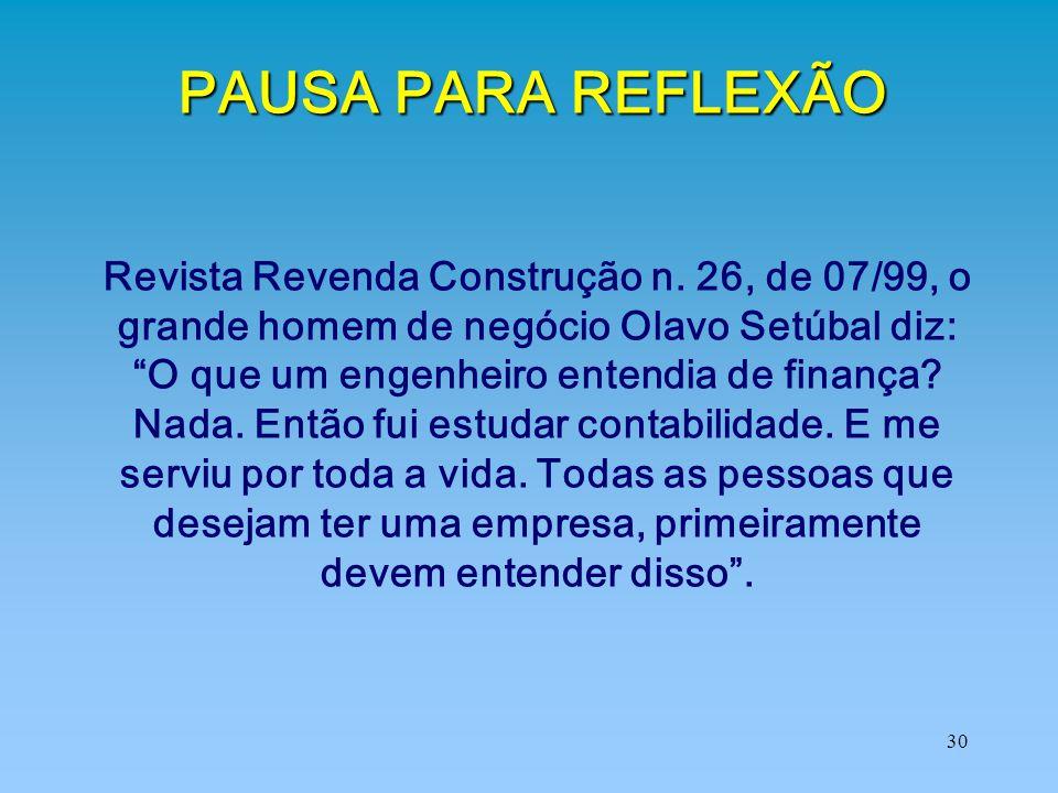 """30 PAUSA PARA REFLEXÃO Revista Revenda Construção n. 26, de 07/99, o grande homem de negócio Olavo Setúbal diz: """"O que um engenheiro entendia de finan"""