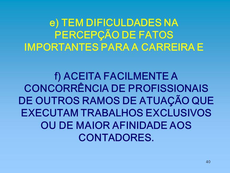 40 e) TEM DIFICULDADES NA PERCEPÇÃO DE FATOS IMPORTANTES PARA A CARREIRA E f) ACEITA FACILMENTE A CONCORRÊNCIA DE PROFISSIONAIS DE OUTROS RAMOS DE ATU