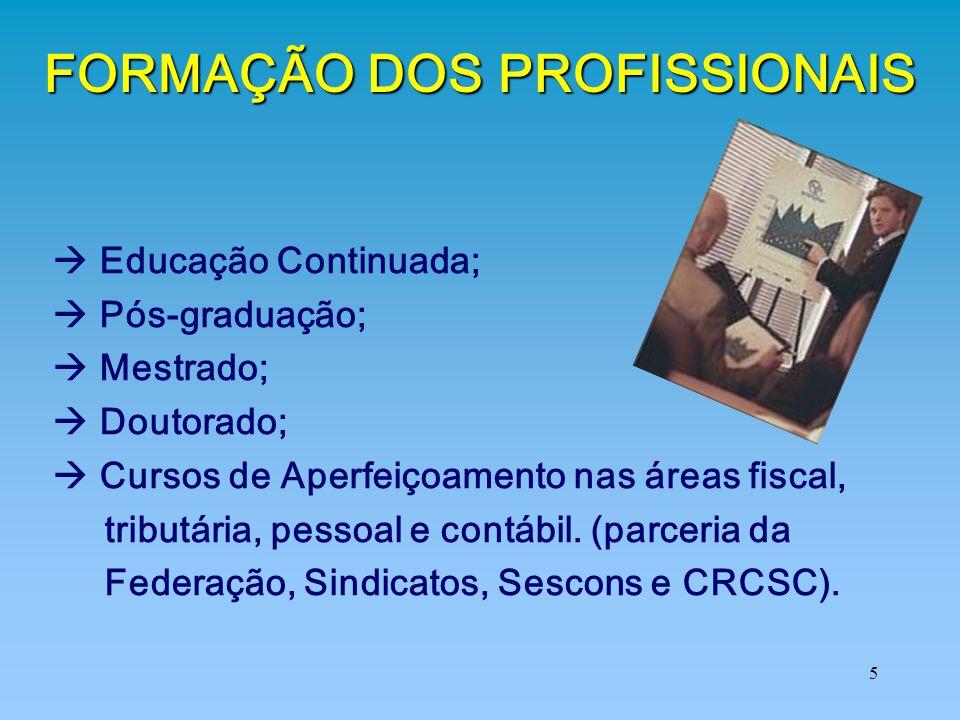 5 FORMAÇÃO DOS PROFISSIONAIS  Educação Continuada;  Pós-graduação;  Mestrado;  Doutorado;  Cursos de Aperfeiçoamento nas áreas fiscal, tributária