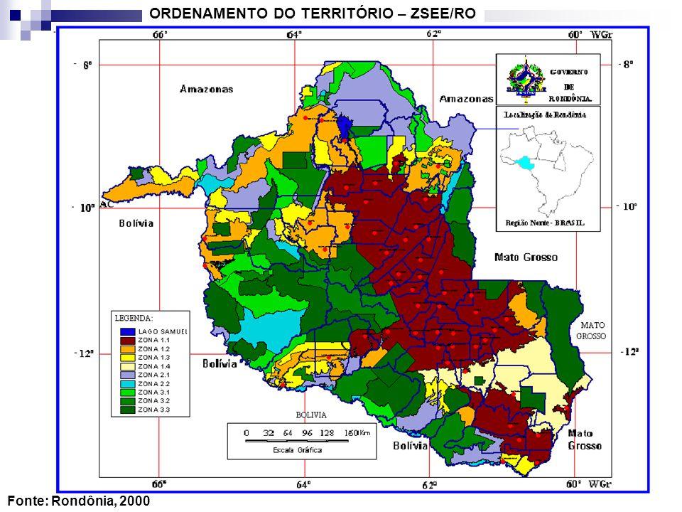 Fonte: Rondônia, 2000 ORDENAMENTO DO TERRITÓRIO – ZSEE/RO