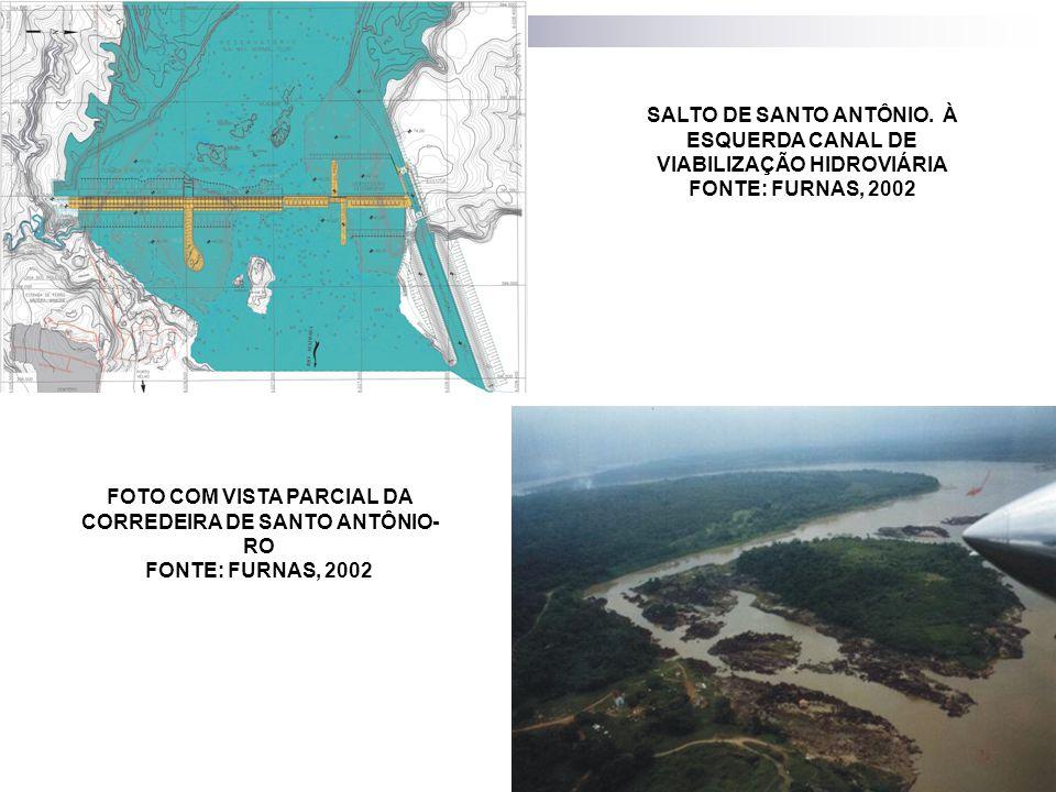 SALTO DE SANTO ANTÔNIO. À ESQUERDA CANAL DE VIABILIZAÇÃO HIDROVIÁRIA FONTE: FURNAS, 2002 FOTO COM VISTA PARCIAL DA CORREDEIRA DE SANTO ANTÔNIO- RO FON