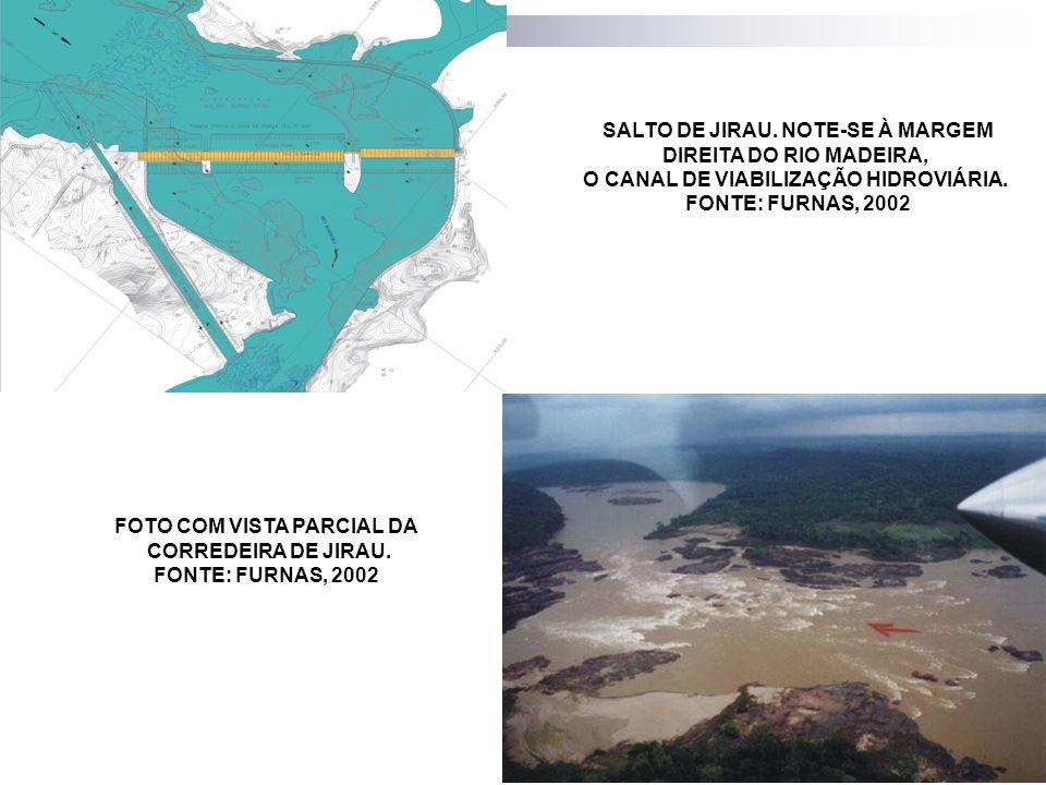 SALTO DE JIRAU. NOTE-SE À MARGEM DIREITA DO RIO MADEIRA, O CANAL DE VIABILIZAÇÃO HIDROVIÁRIA. FONTE: FURNAS, 2002 FOTO COM VISTA PARCIAL DA CORREDEIRA