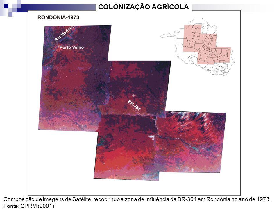 Composição de Imagens de Satélite, recobrindo a zona de influência da BR-364 em Rondônia no ano de 1973. Fonte: CPRM (2001) COLONIZAÇÃO AGRÍCOLA