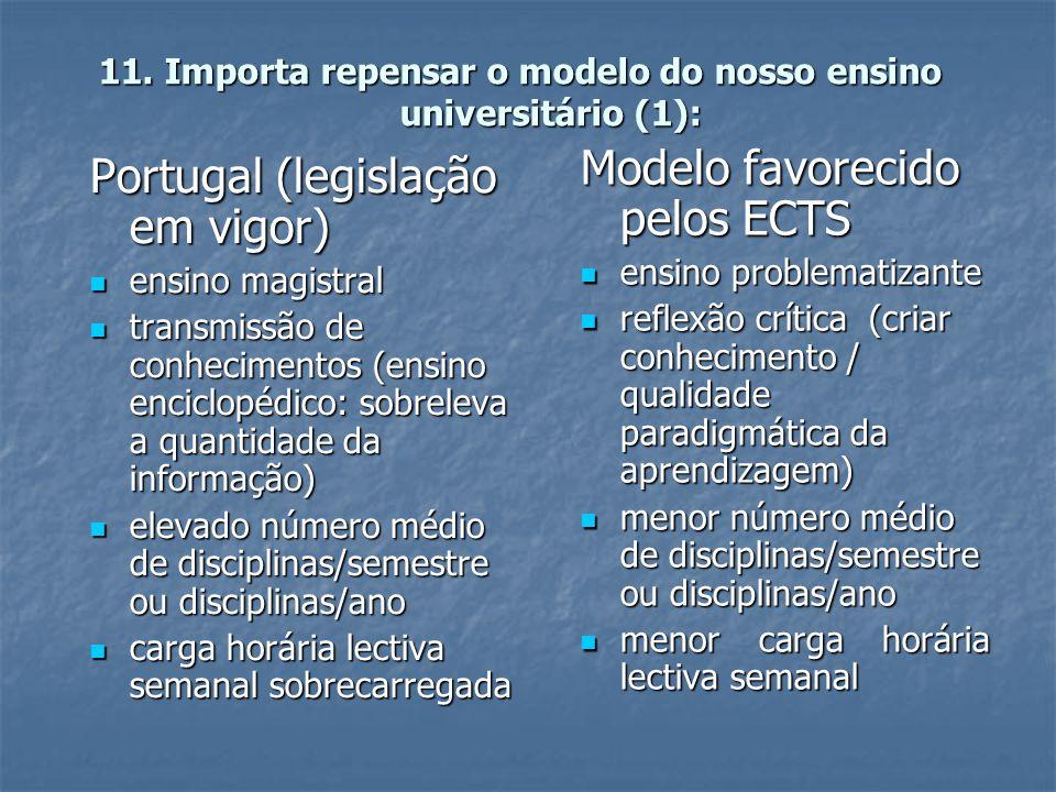 11. Importa repensar o modelo do nosso ensino universitário (1): Portugal (legislação em vigor)  ensino magistral  transmissão de conhecimentos (ens