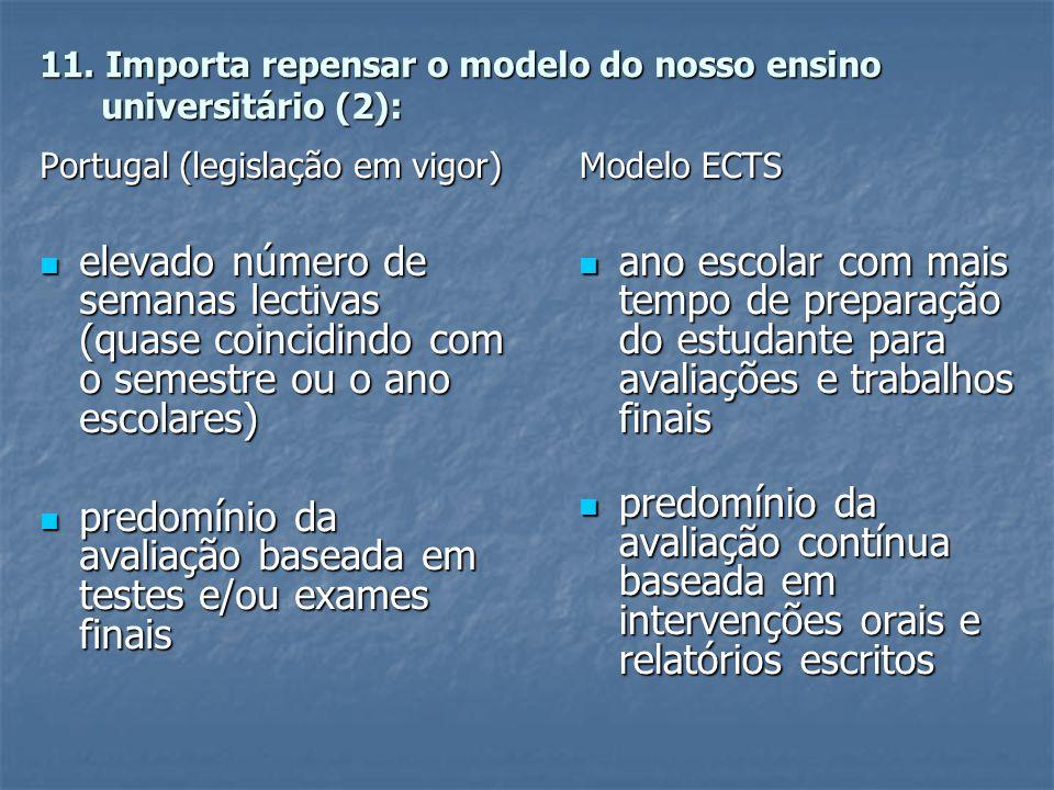 11. Importa repensar o modelo do nosso ensino universitário (2): Portugal (legislação em vigor)  elevado número de semanas lectivas (quase coincidind