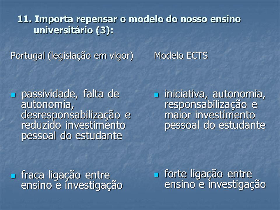 11. Importa repensar o modelo do nosso ensino universitário (3): Portugal (legislação em vigor)  passividade, falta de autonomia, desresponsabilizaçã