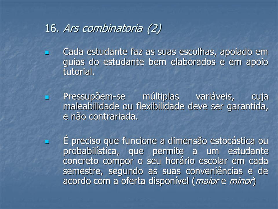 16. Ars combinatoria (2)  Cada estudante faz as suas escolhas, apoiado em guias do estudante bem elaborados e em apoio tutorial.  Pressupõem-se múlt