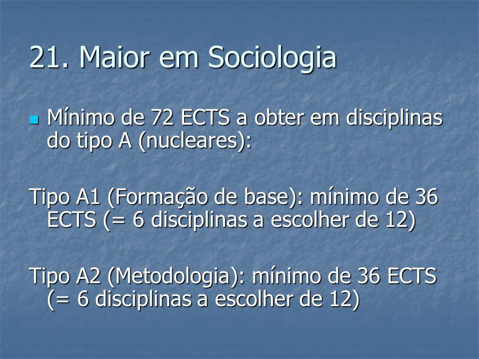 21. Maior em Sociologia  Mínimo de 72 ECTS a obter em disciplinas do tipo A (nucleares): Tipo A1 (Formação de base): mínimo de 36 ECTS (= 6 disciplin