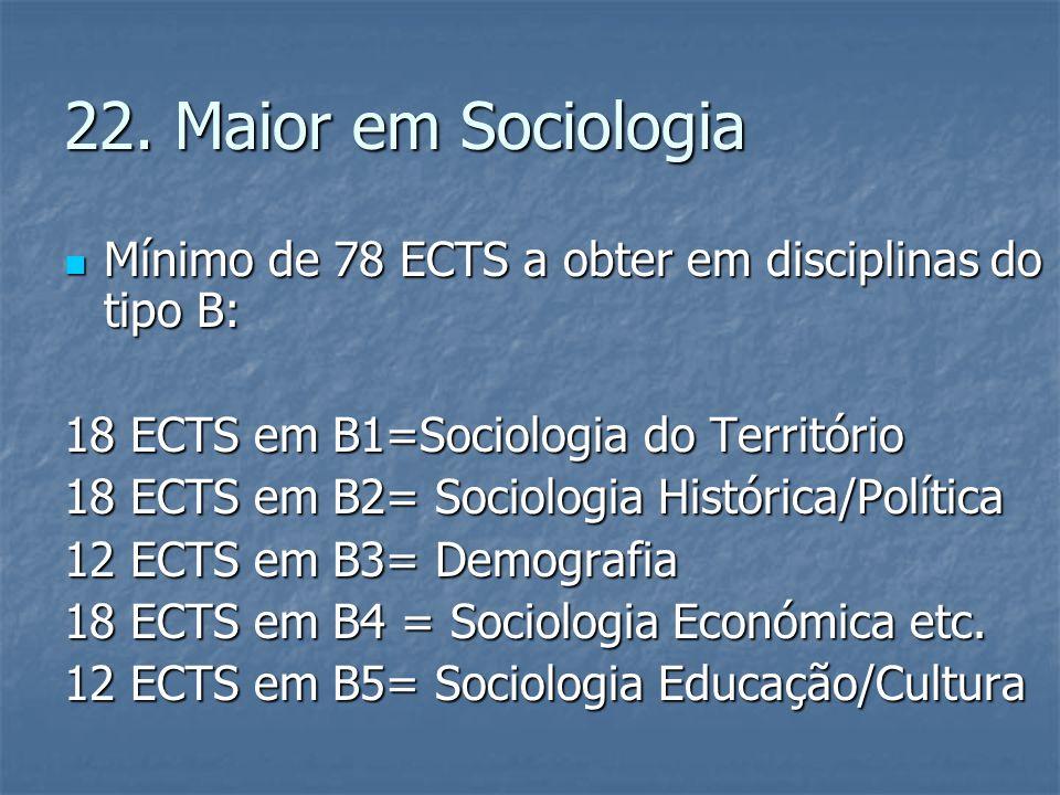 22. Maior em Sociologia  Mínimo de 78 ECTS a obter em disciplinas do tipo B: 18 ECTS em B1=Sociologia do Território 18 ECTS em B2= Sociologia Históri