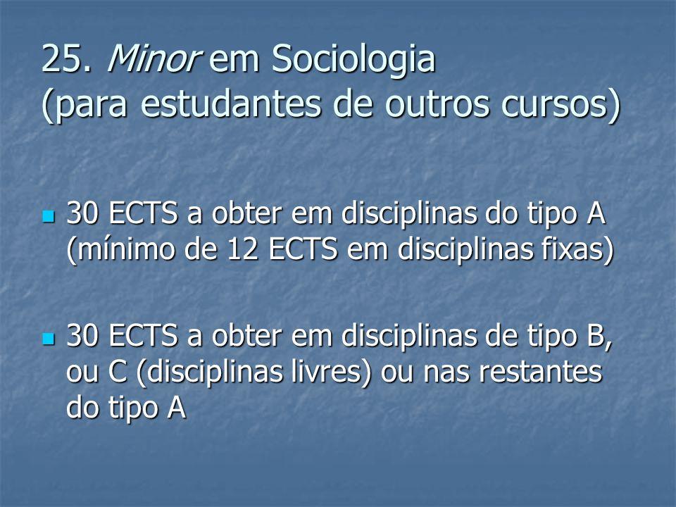 25. Minor em Sociologia (para estudantes de outros cursos)  30 ECTS a obter em disciplinas do tipo A (mínimo de 12 ECTS em disciplinas fixas)  30 EC