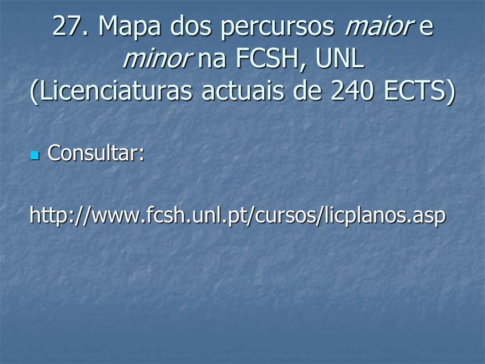 27. Mapa dos percursos maior e minor na FCSH, UNL (Licenciaturas actuais de 240 ECTS)  Consultar: http://www.fcsh.unl.pt/cursos/licplanos.asp