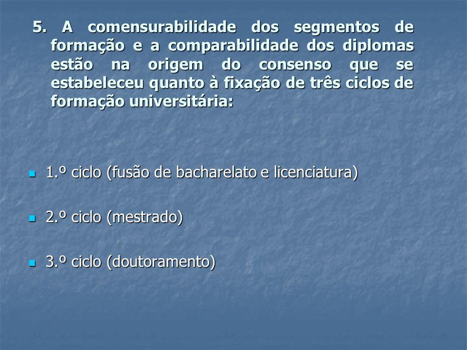5. A comensurabilidade dos segmentos de formação e a comparabilidade dos diplomas estão na origem do consenso que se estabeleceu quanto à fixação de t