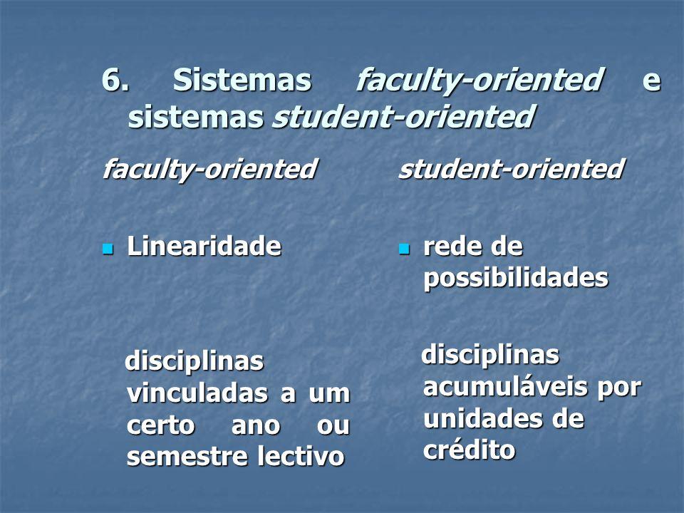 6. Sistemas faculty-oriented e sistemas student-oriented faculty-oriented  Linearidade disciplinas vinculadas a um certo ano ou semestre lectivo disc