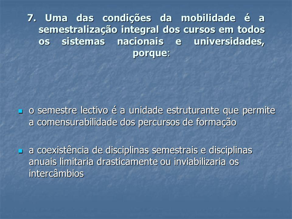 7. Uma das condições da mobilidade é a semestralização integral dos cursos em todos os sistemas nacionais e universidades, porque:  o semestre lectiv