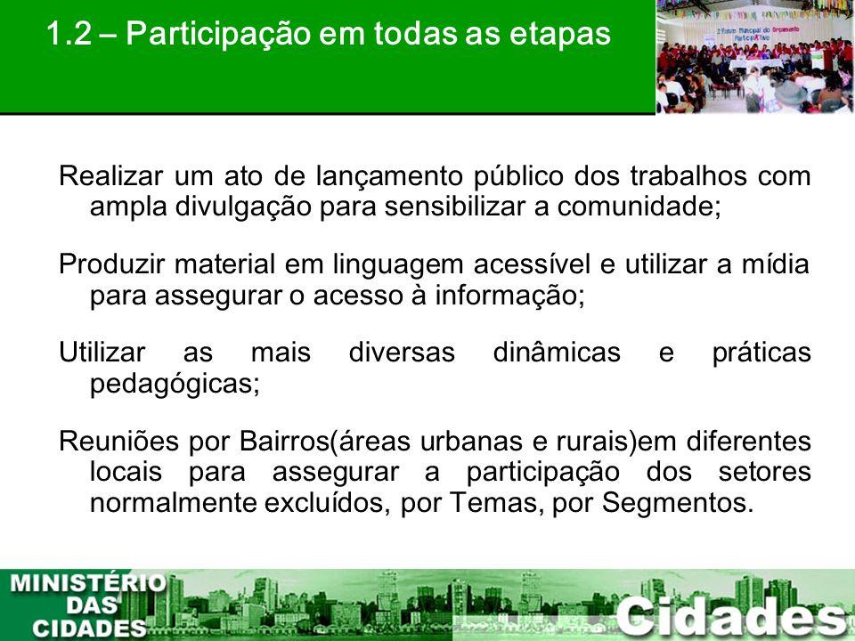 16 Realizar um ato de lançamento público dos trabalhos com ampla divulgação para sensibilizar a comunidade; Produzir material em linguagem acessível e