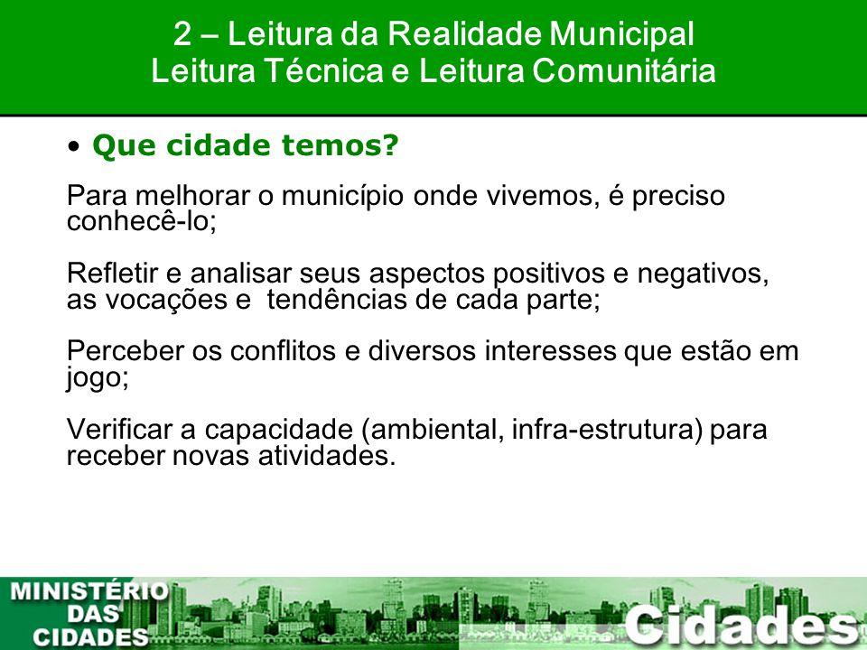 17 Para melhorar o município onde vivemos, é preciso conhecê-lo; Refletir e analisar seus aspectos positivos e negativos, as vocações e tendências de