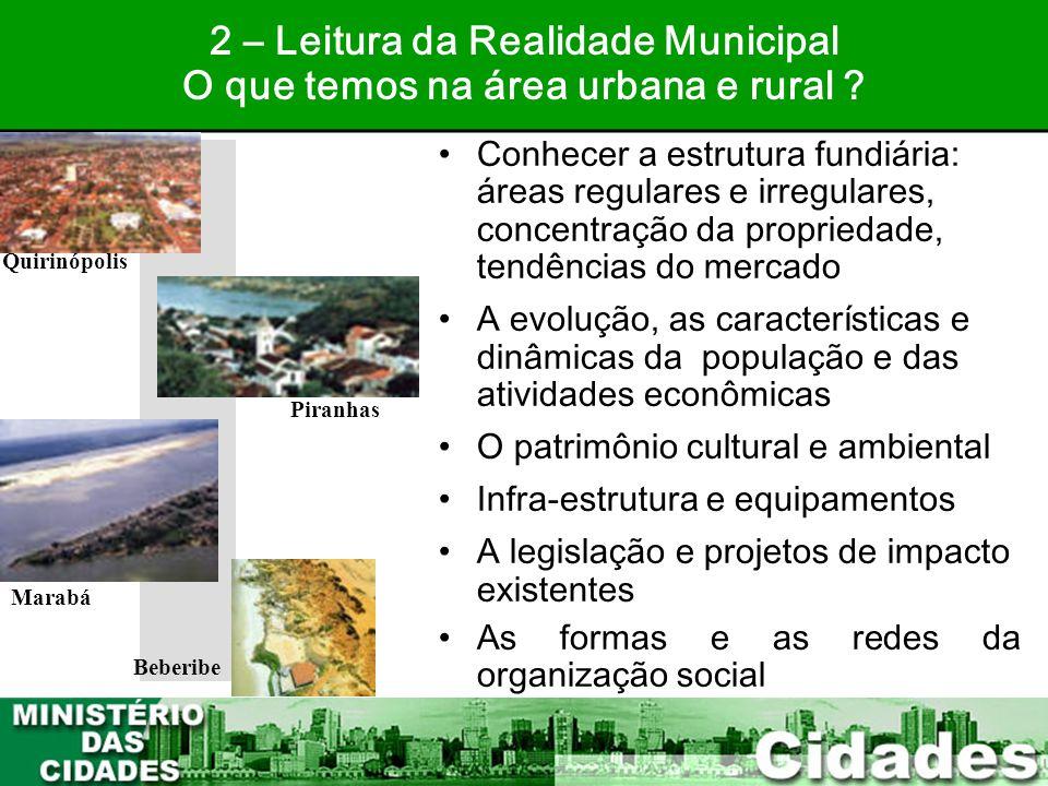 18 •Conhecer a estrutura fundiária: áreas regulares e irregulares, concentração da propriedade, tendências do mercado •A evolução, as características