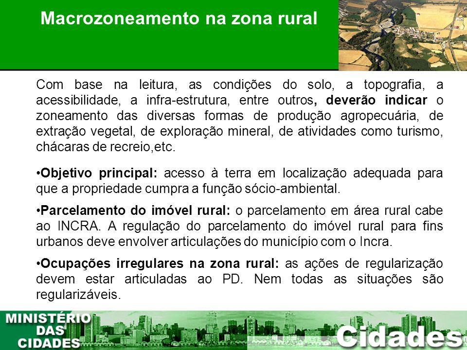 20 PLANEJAMENTO PARTICIPATIVO Macrozoneamento na zona rural Com base na leitura, as condições do solo, a topografia, a acessibilidade, a infra-estrutu