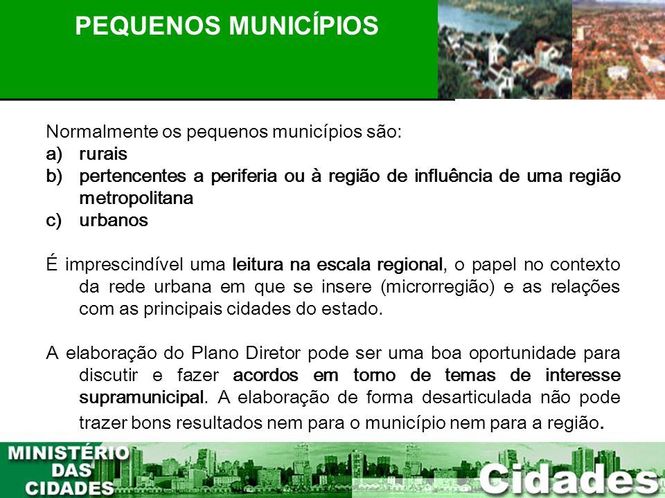 21 PLANEJAMENTO PARTICIPATIVO PEQUENOS MUNICÍPIOS Normalmente os pequenos municípios são: a)rurais b)pertencentes a periferia ou à região de influênci