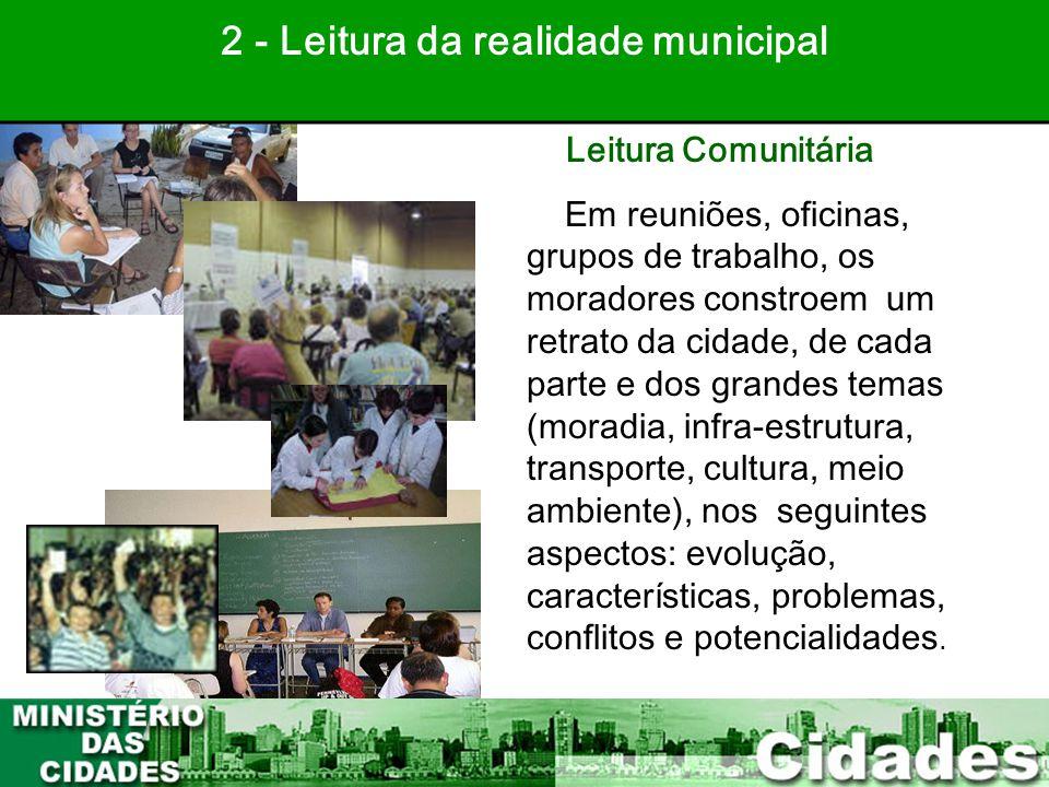 23 Leitura Comunitária Em reuniões, oficinas, grupos de trabalho, os moradores constroem um retrato da cidade, de cada parte e dos grandes temas (mora