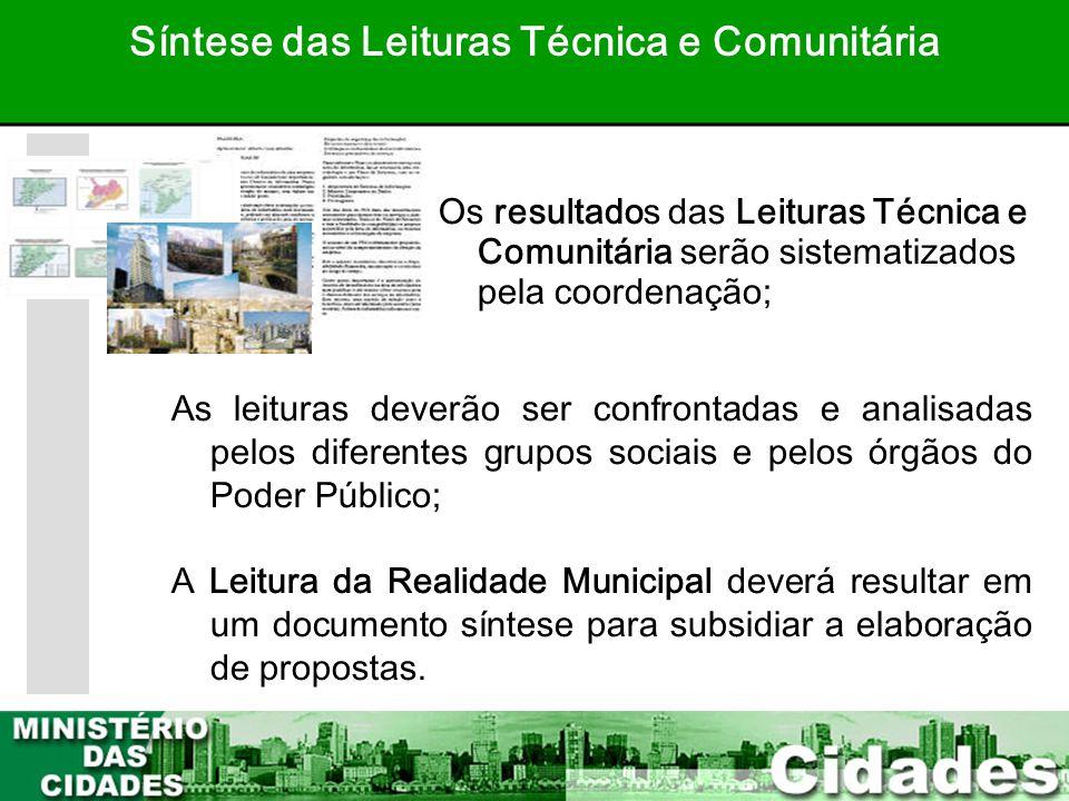 31 Os resultados das Leituras Técnica e Comunitária serão sistematizados pela coordenação; Síntese das Leituras Técnica e Comunitária As leituras deve