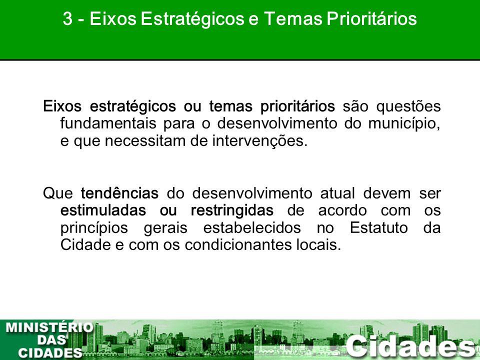32 Eixos estratégicos ou temas prioritários são questões fundamentais para o desenvolvimento do município, e que necessitam de intervenções. Que tendê