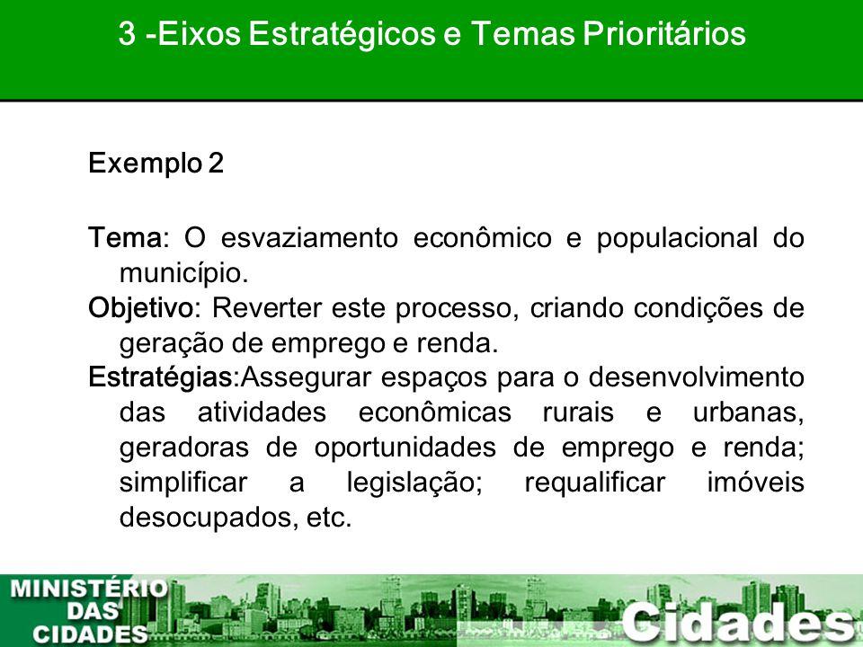 34 Exemplo 2 Tema: O esvaziamento econômico e populacional do município. Objetivo: Reverter este processo, criando condições de geração de emprego e r