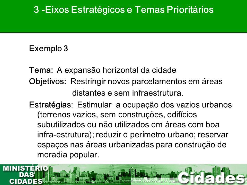 35 Exemplo 3 Tema: A expansão horizontal da cidade Objetivos: Restringir novos parcelamentos em áreas distantes e sem infraestrutura. Estratégias: Est