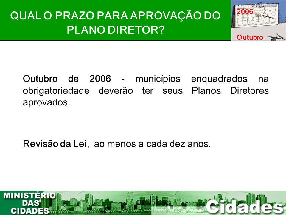 7 Outubro de 2006 - municípios enquadrados na obrigatoriedade deverão ter seus Planos Diretores aprovados. Revisão da Lei, ao menos a cada dez anos. Q