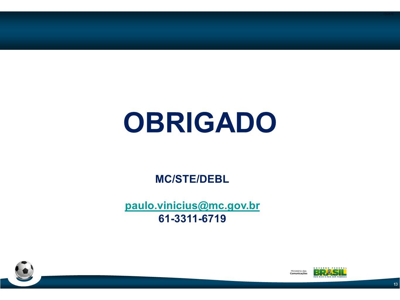 CODE-13 13 OBRIGADO MC/STE/DEBL paulo.vinicius@mc.gov.br 61-3311-6719