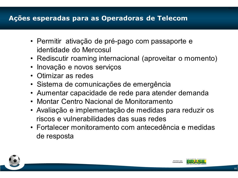 CODE-11 11 •Permitir ativação de pré-pago com passaporte e identidade do Mercosul •Rediscutir roaming internacional (aproveitar o momento) •Inovação e