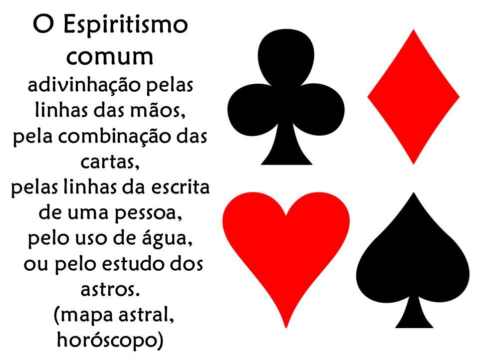 O Espiritismo comum adivinhação pelas linhas das mãos, pela combinação das cartas, pelas linhas da escrita de uma pessoa, pelo uso de água, ou pelo es