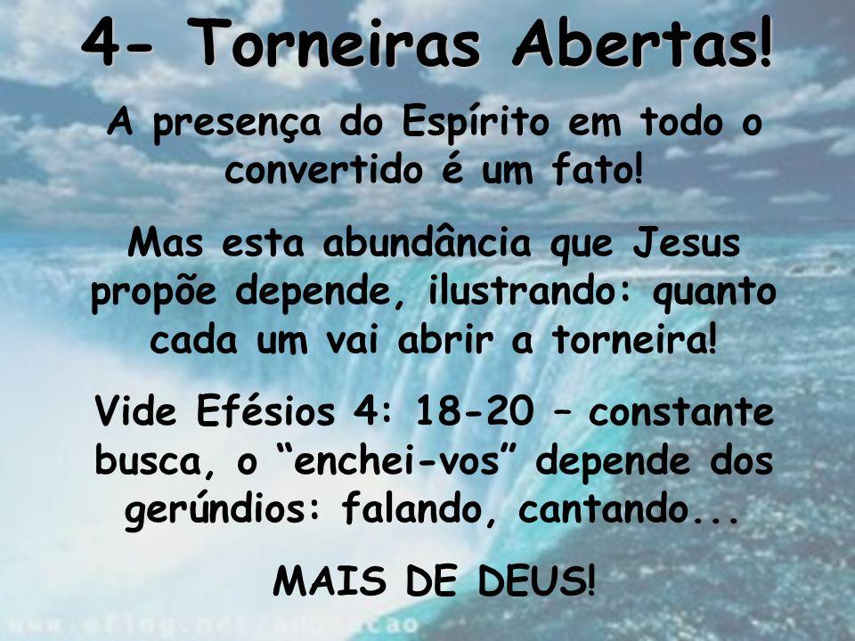 4- Torneiras Abertas! A presença do Espírito em todo o convertido é um fato! Mas esta abundância que Jesus propõe depende, ilustrando: quanto cada um