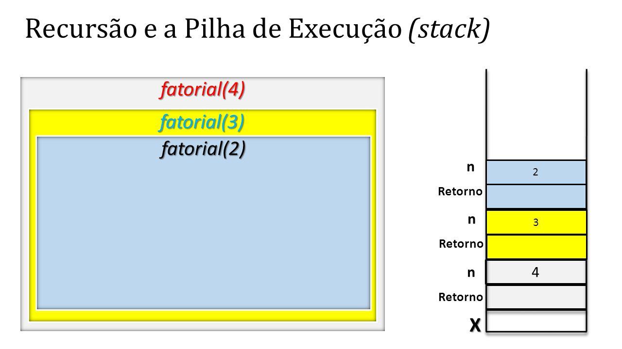 4 Recursão e a Pilha de Execução (stack) fatorial(4) X Retorno n fatorial(3) 3 n fatorial(2) 2 n