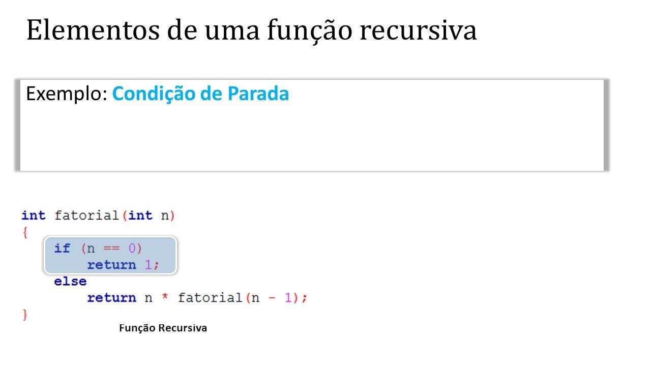 Elementos de uma função recursiva Exemplo: Condição de Parada