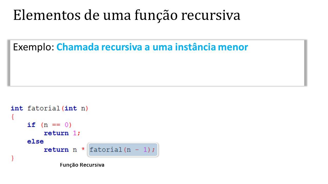 Função Recursiva Elementos de uma função recursiva Exemplo: Chamada recursiva a uma instância menor